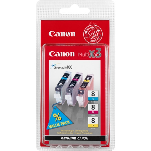 Canon CLI-8 C/M/Y Ink Cartridge - Cyan, Magenta, Yellow