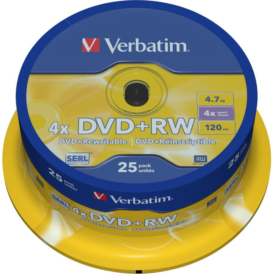 Verbatim 43489 DVD Rewritable Media - DVD+RW - 4x - 4.70 GB - 25 Pack Spindle
