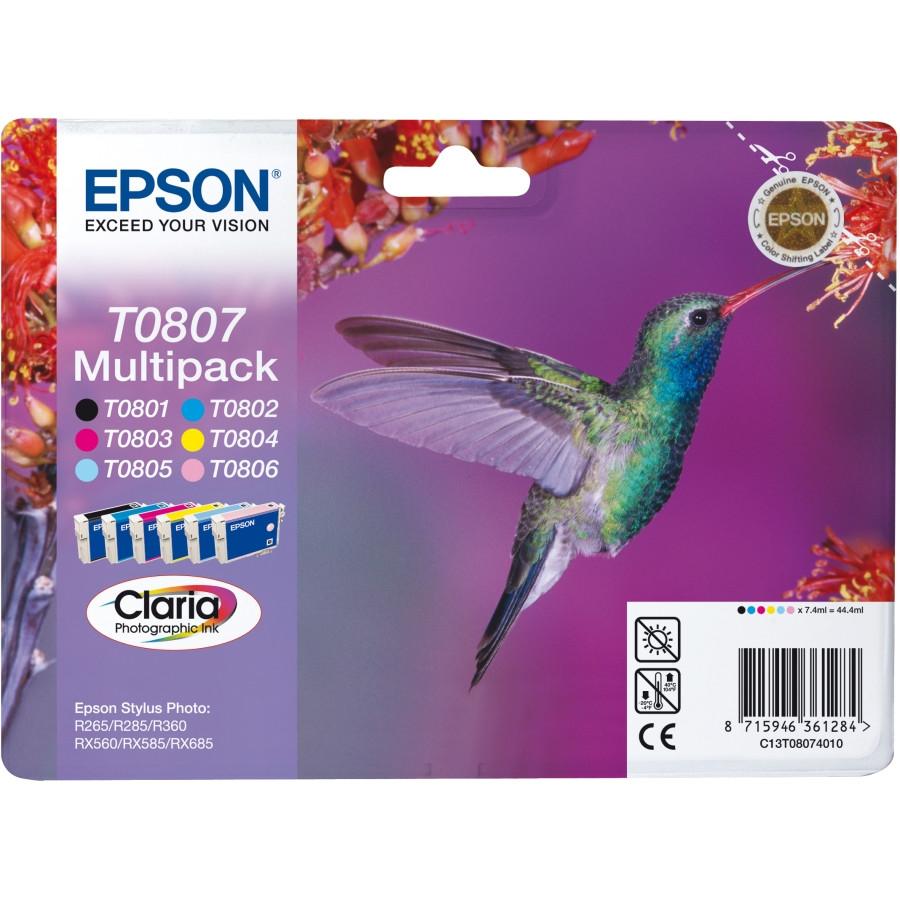 Epson Claria T0807 Ink Cartridge - Cyan, Magenta, Yellow, Black, Light Cyan, Light Magenta