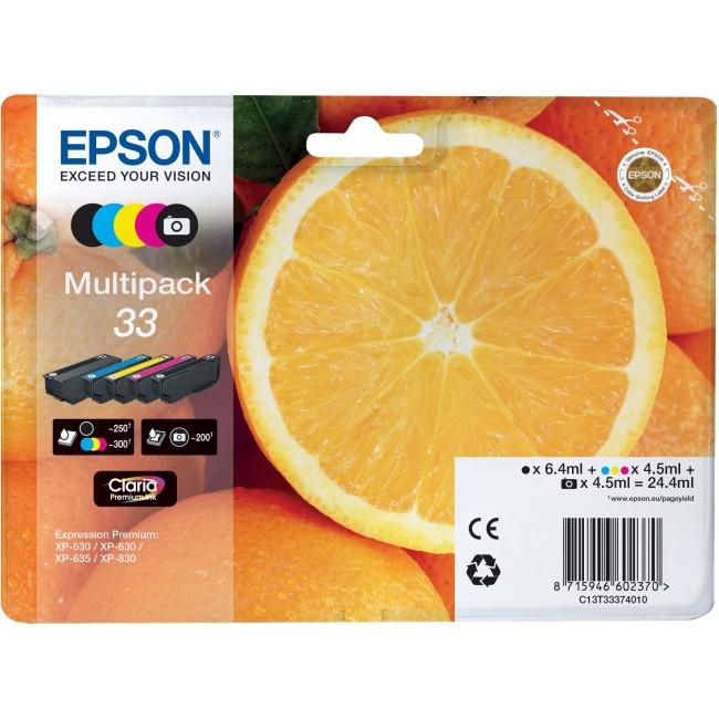 Epson Claria 33 Ink Cartridge - Yellow, Cyan, Magenta, Black, Photo Black