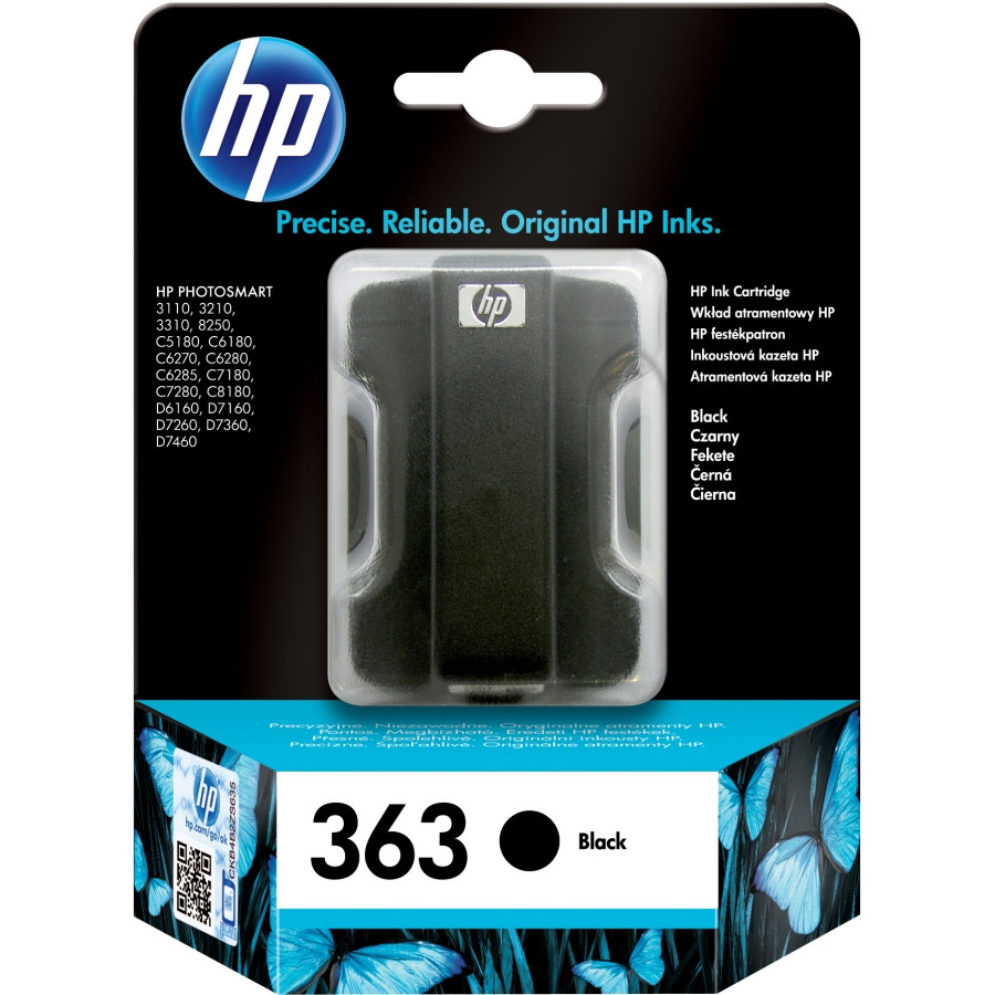 HP 363 Black Ink Cartridge with Vivera Ink