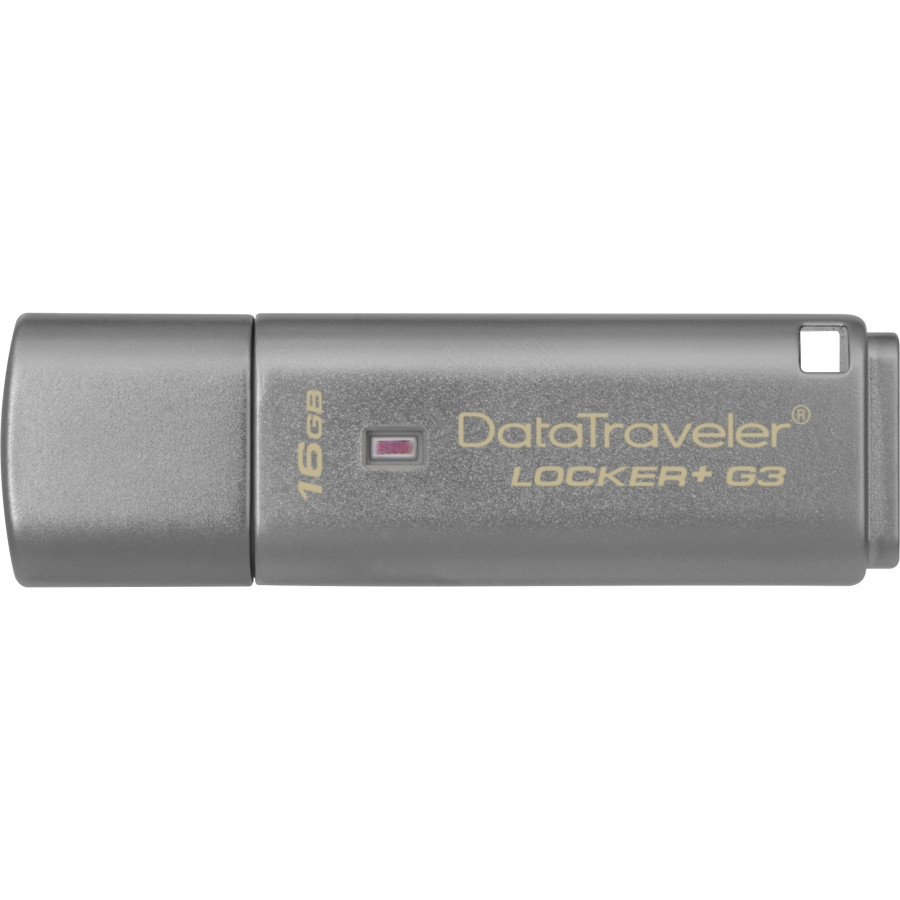 Kingston DataTraveler Locker+ G3 16 GB USB 3.0 Flash Drive - Silver - 1 Pack