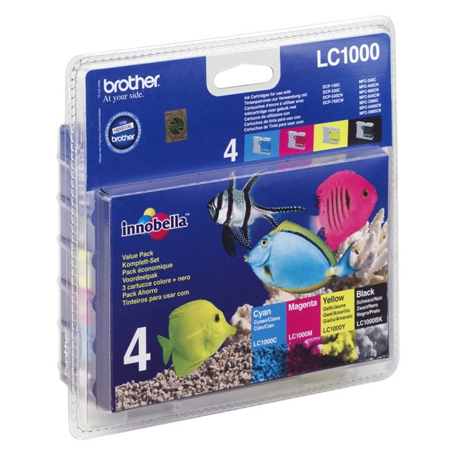 Brother LC-1000VALBP Ink Cartridge - Black, Cyan, Magenta, Yellow