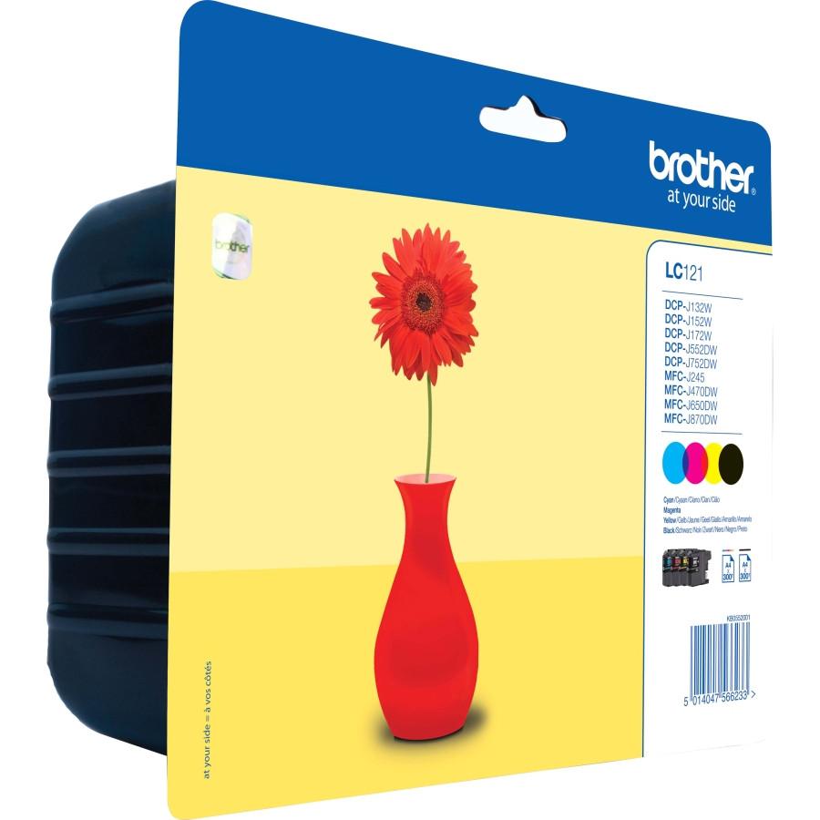 Brother LC121VALBP Ink Cartridge - Yellow, Cyan, Magenta, Black