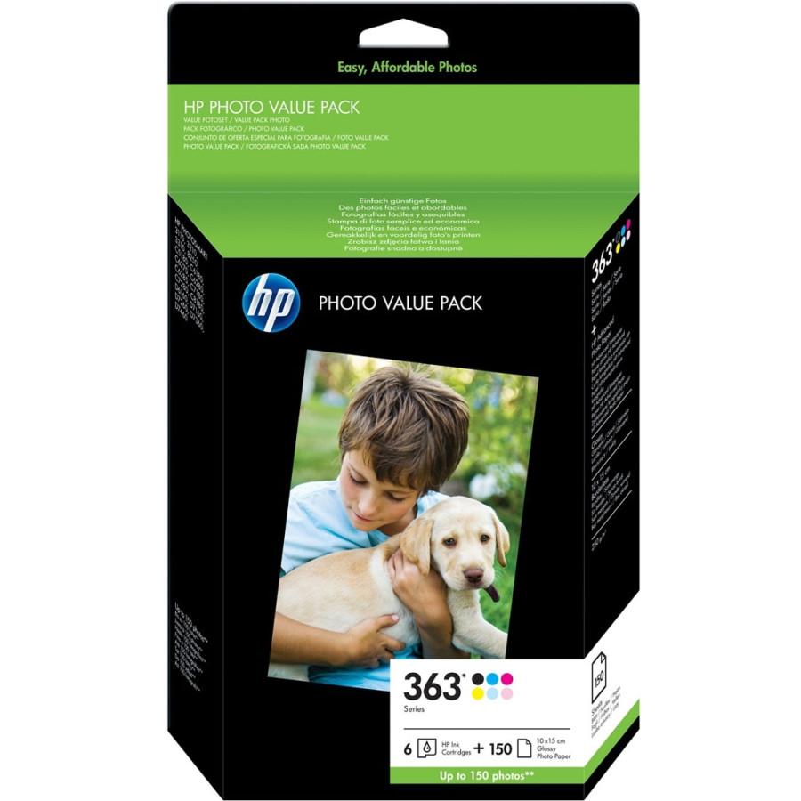 HP 363 Series Photo Value Pack - Print cartridge / paper kit - high capacity - 1 x black, yellow, cyan, magenta, light magenta, light cyan - 100 x 150 mm