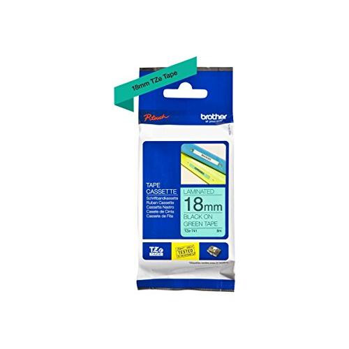 Brother TZe-741 18 mm (W) x 8 m (L) Labelling Tape Cassette Laminated Brother Genuine Supplies, Black on Green