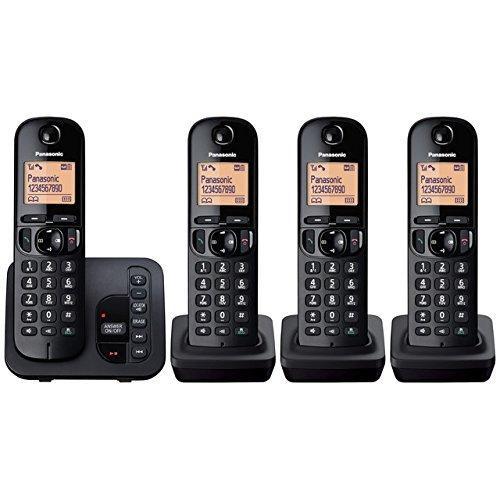 Panasonic KX-TGC224EB Digital Cordless Phone with LCD Display - Black, Pack of 4