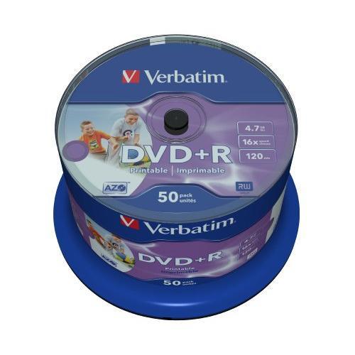 Verbatim 43512 4.7GB 16x Wide Inkjet Printable DVD+R - 50 Pack Spindle