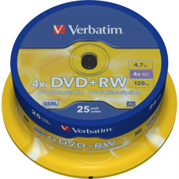 Verbatim 43489 DVD Rewritable Media - DVD+RW - 4x - 4.70 GB - 25 Pack Spindle