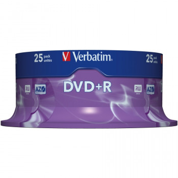 Verbatim 43500 DVD Recordable Media - DVD+R - 16x - 4.70 GB - 25 Pack Spindle