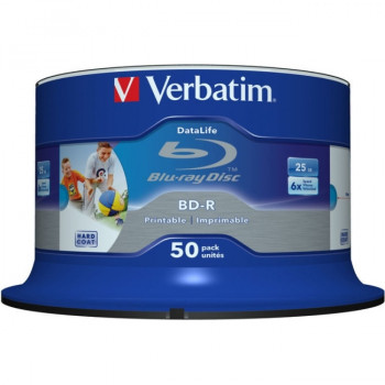 Verbatim DataLife Blu-ray Recordable Media - BD-R - 6x - 25 GB - 50 Pack Spindle