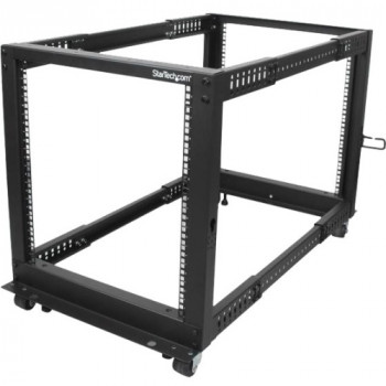 StarTech.com 12U Adjustable Depth Open Frame 4 Post Server Rack w/ Casters / Levelers and Cable Management Hooks