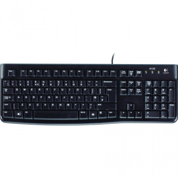 Logitech K120 Keyboard - Cable Connectivity - Black