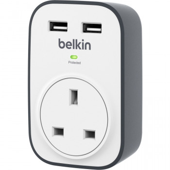Belkin BSV103 SurgeCube 1 Way Surge Protector with 2 x 2.4 A Shared USB Charging