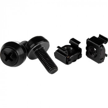 StarTech.com M6 x 12mm - Screws and Cage Nuts - 100 Pack, Black - M6 Mounting Screws & Cage Nuts for Server Rack & Cabinet