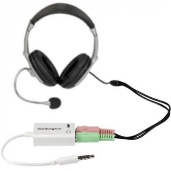 StarTech.com 3.5mm 4 Position to 2x 3 Position 3.5mm Headset Splitter Adapter M/F - White