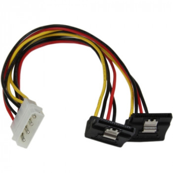StarTech.com 12in LP4 to 2x Right Angle Latching SATA Power Y Cable Splitter - 4 Pin Molex to Dual SATA