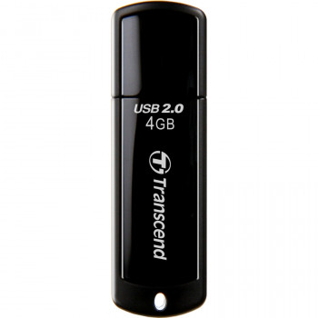 Transcend JetFlash 350 4 GB USB 2.0 Flash Drive - Black - 1 Pack