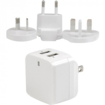 StarTech.com White Dual Port USB Wall Charger - High Power (17 Watt / 3.4 Amp) - Travel Charger (International)
