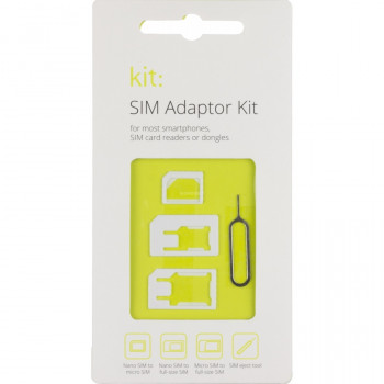 Kit Sim Adapter Pack with Nano & Micro SIM Adapters and SIM Removing Tool Compatible with Most Smartphones - White