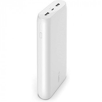 Belkin Portable Power Bank Charger 20K (Portable Charger Battery Pack w/ Dual USB Ports, 20000 mAh Capacity, for iPhone 12, 12 Pro, 12 Pro Max, 12 mini and Earlier Models, iPad, AirPods, more) - White
