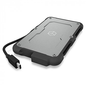 """ICY BOX External USB C Case for 2.5"""" HDD / SSD Waterproof USB 3.1 (Gen 2 10Gbps) Built-in Cable Silver/Black"""