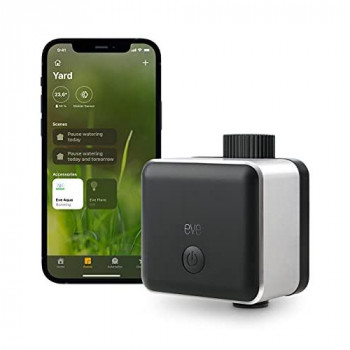 Eve Aqua – Smart water controller for Apple Home app or Siri, irrigate automatically with schedules, easy to use, remote access, no bridge, Bluetooth, HomeKit