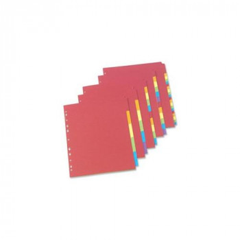 Concord A4 12 Part Europunched Bright Subject Dividers - Assorted Colour