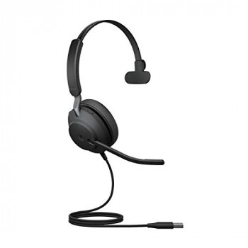 Jabra Evolve2 40 Headset Noise Cancelling Microsoft Teams Certified Mono Headphones with 3 microphone Call Technology USB-A Cable Black