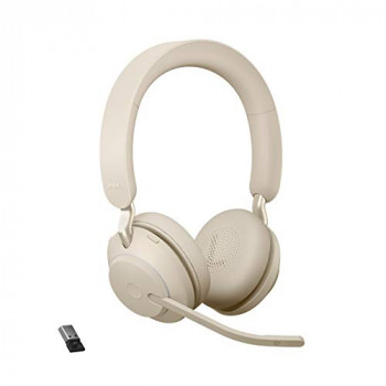 Jabra Evolve2 65 Wireless Headset – Noise Cancelling UC Certified Stereo Headphones with Long-Lasting Battery – USB-A Bluetooth Adapter – Beige