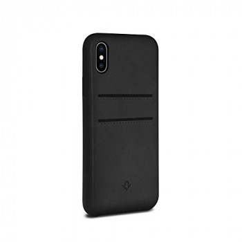 Twelve South Relaxed Leather Case for iPhone X /Xs | Hand Burnished Leather Wallet Shell (black)
