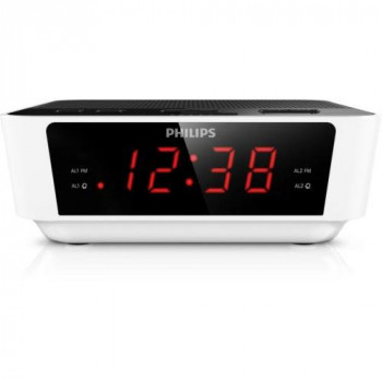Philips AJ3115 Clock Radio with Radio, Big Display, Sleep Timer, Dual Alarm, Battery Back-Up - White