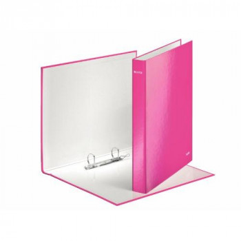Leitz WOW Ring Binder 2 D-Ring Size 25mm for 250 Sheets A4 Maxi Pink Ref 42410023 [Pack of 10]