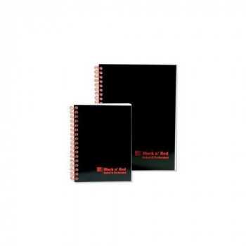 Black n Red Notebook Soft Cover Wirebound Perforated 90gsm Ruled 100 Pages A5 Ref D66369 Pack of 10