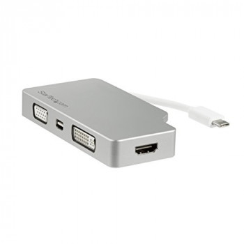 StarTech.com USB-C Multiport Adapter - Aluminum - USB Type C to VGA / 4K HDMI / Mini DisplayPort / DVI - USB C Adapter