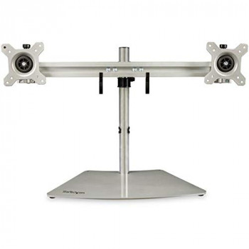 StarTech.com Dual Monitor Mount - Supports Monitors 12'' to 24'' - Adjustable - VESA Monitor Stand for Desk - Low Profile Base - Horizontal - Silver (ARMDUOSS)