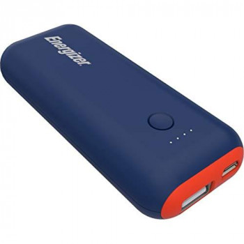 Energizer Power Bank 5000 mah slim portable phone charger, battery charger for Apple iPhone, Huawei, Samsung Galaxy and tablets like Apple iPad, Galaxy tab and many more - darkblue / orange