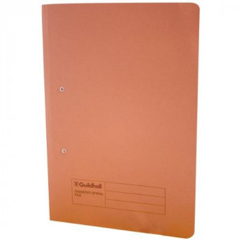 Guildhall 285 gsm Foolscap Spiral File - Orange (Pack of 25)