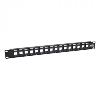 Tripp Lite 16-Port Keystone Blank Patch Panel RJ45, USB, HDMI, Cat5e / Cat6 Rackmount Unshielded 2URM TAA (N062-016-KJ)