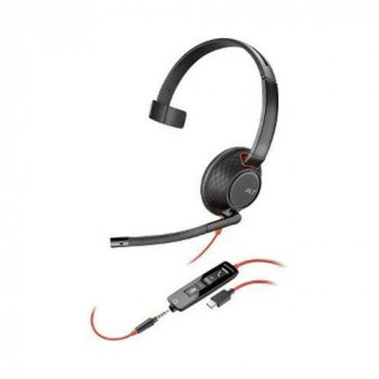 Plantronics Blackwire 5220 Black/Red Headset - Headphones (Call Centre/Office, Binaural, Headset, Black, Red, Skype for Business, Wired).