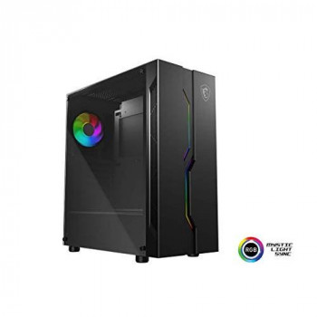 MSI MAG VAMPIRIC 010 Mid Tower Gaming Computer Case 'Black, 1x 120mm Argb Fan, Mystic Light Sync, Tempered Glass Panel, ATX, mATX, Mini-ITX'