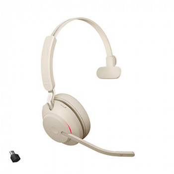Jabra Evolve2 65 Wireless Headset – Noise Cancelling UC Certified Mono Headphones with Long-Lasting Battery – USB-C Bluetooth Adapter – Beige