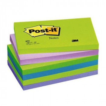 Post-it Notes - Cool Neon Rainbow Neon Green, Neon Purple, Retro Green, Klippan blue, Periwinkle Blue - 6 Pads Per Pack - 100 Sheets Per Pad - 76 mm x 127 mm