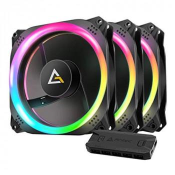 Lot de 3 Ventilateurs de boitier Antec Prizm 120 RGB 3+2+C 12cm avec 2x bandeaux LED (Noir),PRIZM 120 ARGB 3+2+C,120mm