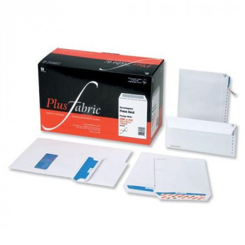 Plus Fabric Envelopes Wallet Press Seal Window 110gsm DL White [Pack of 500]
