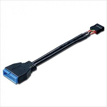 Akasa USB 3.0 to USB 2.0 Adapter Cable, USB 3.0 19-pin male to USB 2.0 internal 9-pin, 10cm