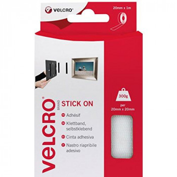 VELCRO Brand - Stick On Hook and Loop Fasteners Perfect for Home or Office 20mm x 1m Tape White