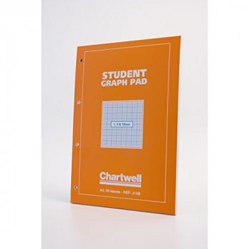 Chartwell Student Graph Pad 70gsm 1mm 5mm 10mm Grid 50 Sheets A4 Orange Cover Ref J14B