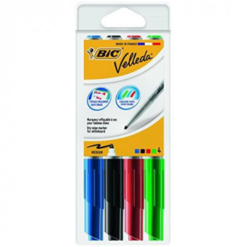 BIC Velleda 1741 Whiteboard Markers Assorted Colours, Pack of 4