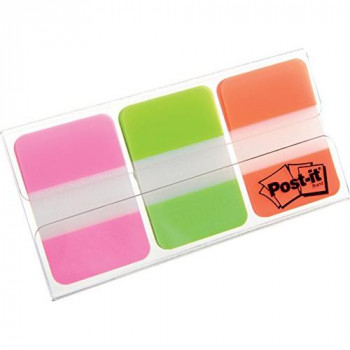 Post-It Index Tabs - Assorted Pink Green and Orange